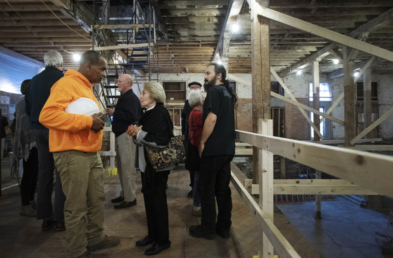 Patrons explore the space before a press conference announcing the beginning of the public campaign at the new home of theREP in Livingston Square in Albany Thursday, October 3, 2019.