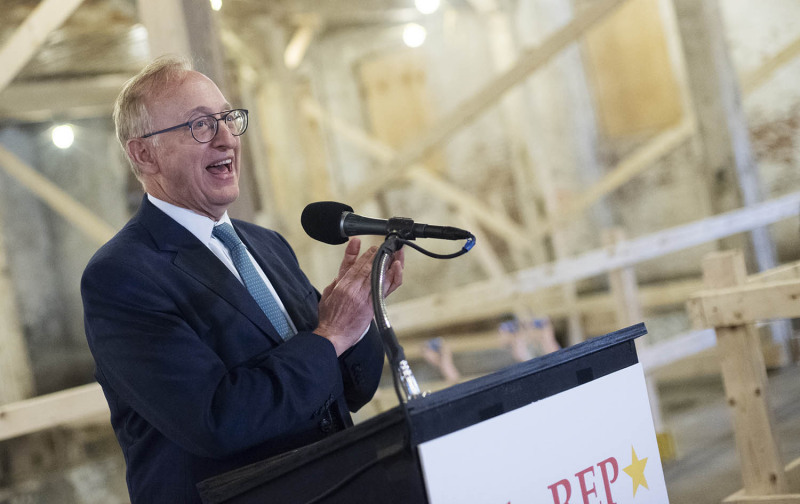 Board president Harold Iselin speaks during a press conference announcing the beginning of the public campaign at the new home of theREP in Livingston Square in Albany Thursday, October 3, 2019.