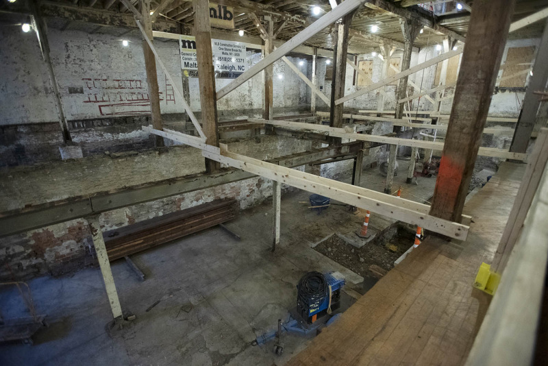 The future home of theREP's 300 seat theatre under construction during a press conference announcing the beginning of the public campaign at the new home of theREP in Livingston Square in Albany Thursday, October 3, 2019.